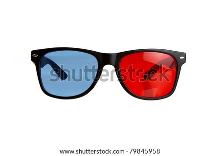 3D Red Blue Glasses Isolated on a White Background - stock photo