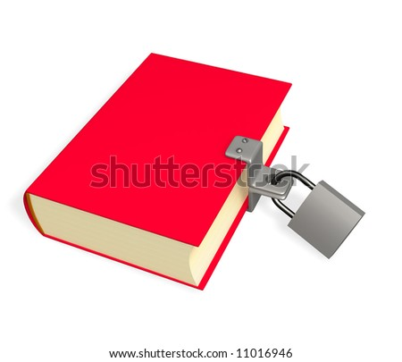 3d red book, closed on the lock. Objects over white - stock photo