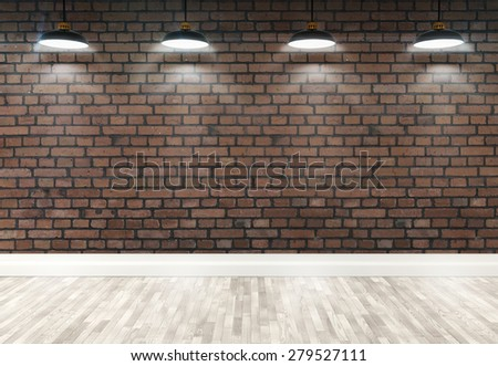 3d red brick room with ceiling lamp - stock photo