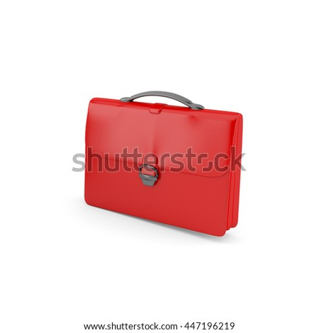 3D red briefcase render, Business equipment