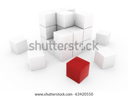 3d red business cube isolated on white background - stock photo