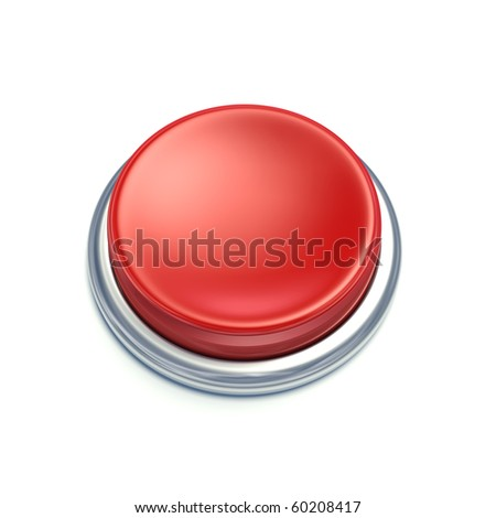 3d red button on white