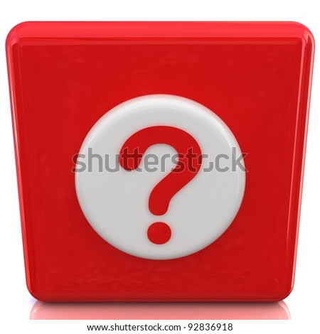 3d red button with question mark - stock photo