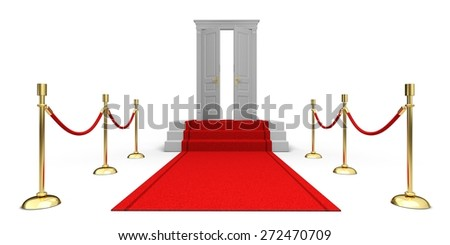 3D. Red Carpet, Door, First Class.
