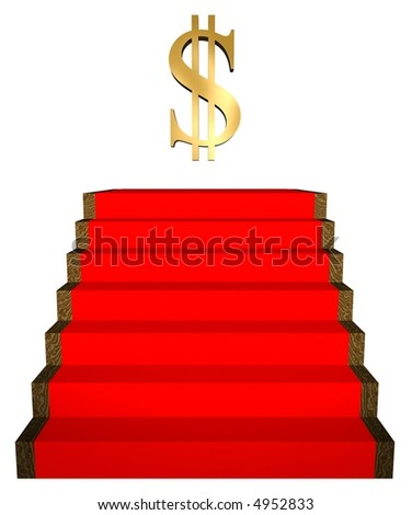 3D red carpet steps and dollar sign - stock photo
