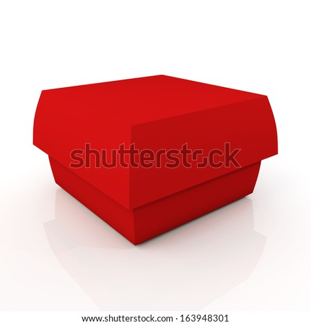 3d red carton box container fast food, snack, French fries, Hamburger blank template in isolated background with work paths, clipping paths included  - stock photo