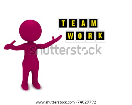 3d red character showing team work power