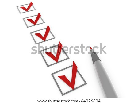 3d red check box pen isolated on white background - stock photo