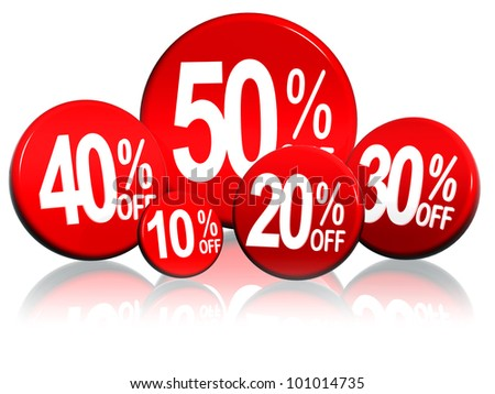 3d red circles with different percentages in white - stock photo