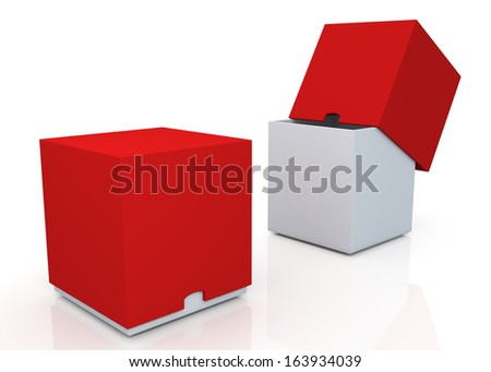 3d red & clean white boxes with cover  products container blank template and rim cut function pick option for useful core slide in isolated background with work paths, clipping paths included  - stock photo