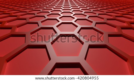 3D red color abstract cellular lattice background - stock photo