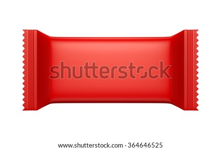 3D Red color Blank Sweet Snack packing design for wrappers, object isolated die cut