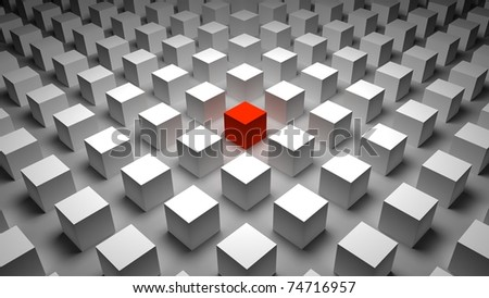 3d red cube - stock photo