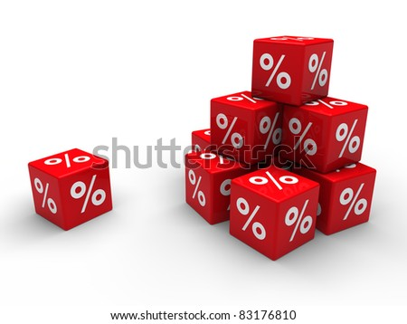 3d red cube sale discount percent business