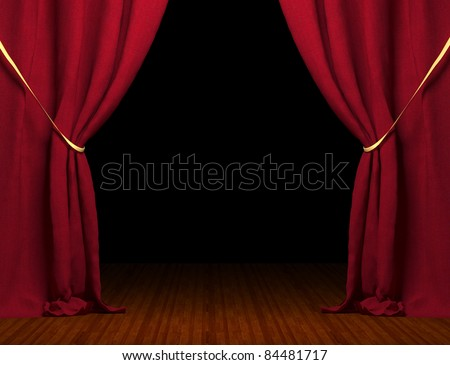 3d red curtain - stock photo