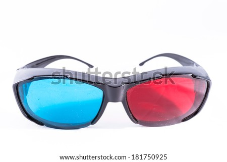 3D red cyan glasses - stock photo