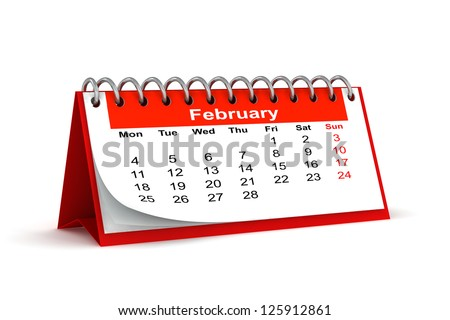 3d red desk paper 2013 year calendar - february month - stock photo