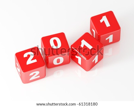 3d red dice 2011 new year day background