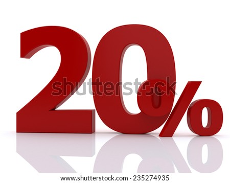 3d red discount collection - 20 percent on white background