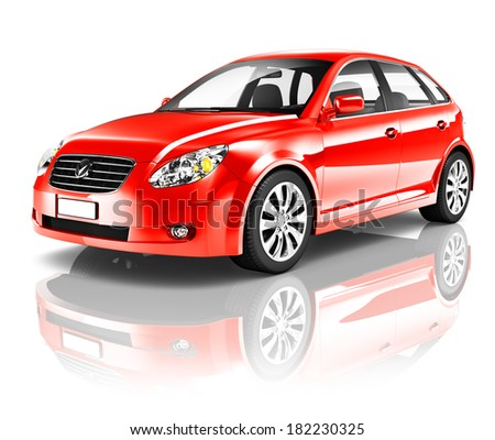 3D Red Family Car - stock photo