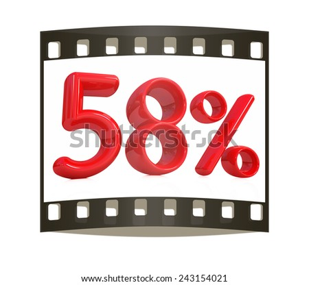 """3d red """"58"""" - fifty eight percent on a white background. The film strip - stock photo"""