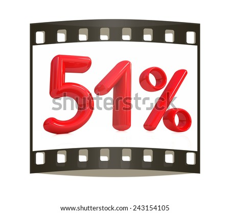 """3d red """"51"""" - fifty one percent on a white background. The film strip - stock photo"""