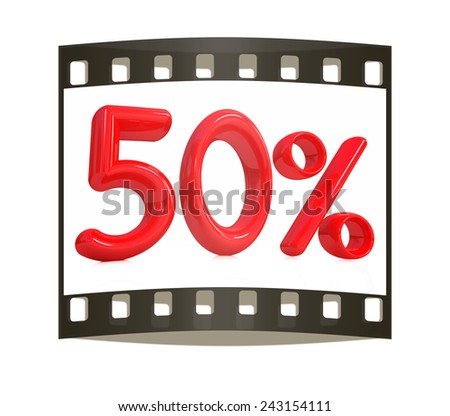 """3d red """"50"""" - fifty percent on a white background. The film strip - stock photo"""