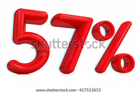 """3d red """"57"""" - fifty seven percent on a white background. 3D illustration. Anaglyph. View with red/cyan glasses to see in 3D. - stock photo"""