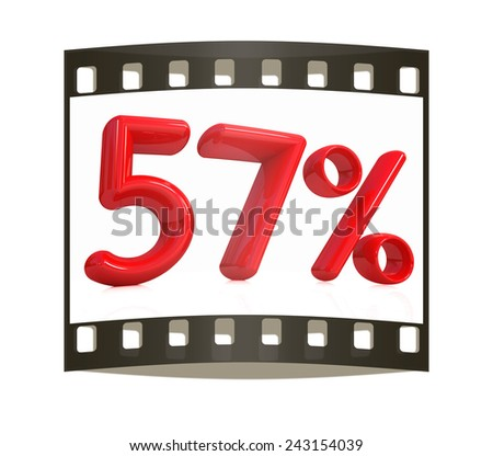 """3d red """"57"""" - fifty seven percent on a white background. The film strip - stock photo"""