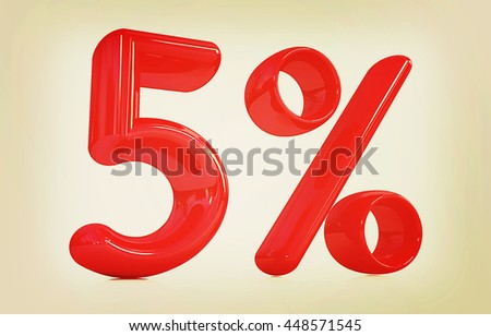 "3d red ""5"" - five percent on a white background. 3D illustration. Vintage style. - stock photo"