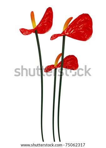 3d red flowers
