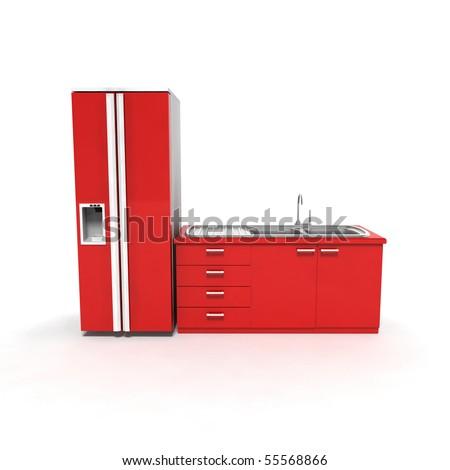 3D red fridge on white background - stock photo