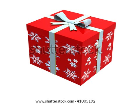 3D red gift box with light blue ribbon on white background
