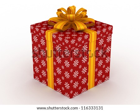 3D red Gift christmas box with yellow bow on the white - stock photo
