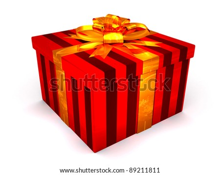 3D red Gift cristmas box on the white - stock photo
