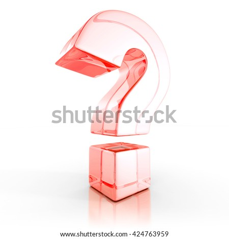 3d red glass question mark on white background. 3d render illustration