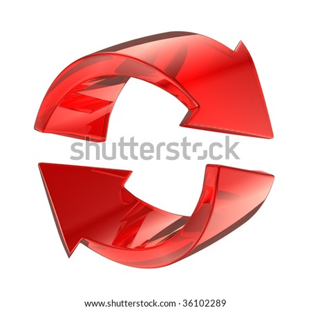 3d red glass reload symbol - stock photo
