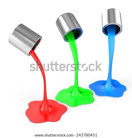 3d red, green, blue paint pouring from buckets on white background - stock photo