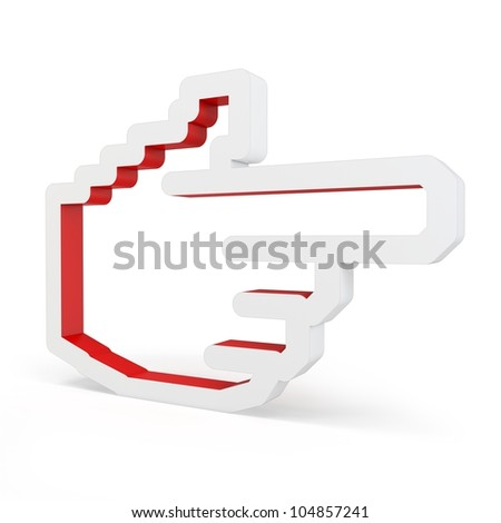 3d red hand icon on white background