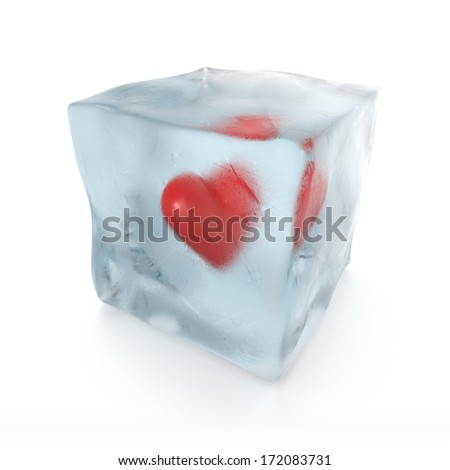 3d red heart frozen in ice cube, isolated on white background - stock photo
