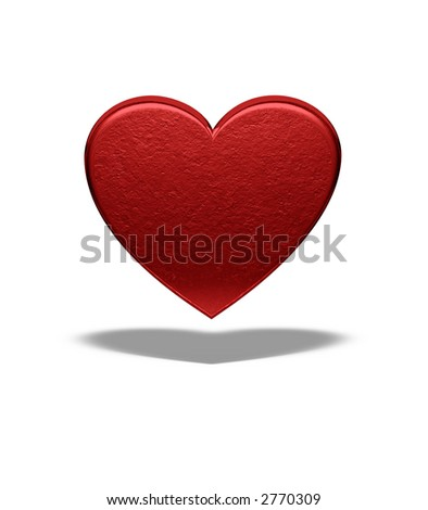 3d Red heart - Love background - Front view - Isolated - stock photo
