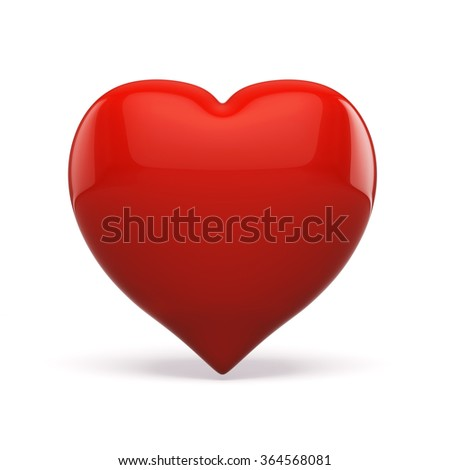 3d red heart on white background - stock photo