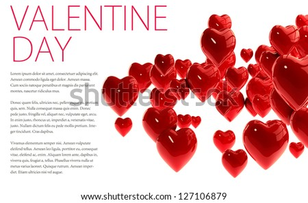 3D Red Hearts for Valentine Day Isolated on White Background with Space for Text