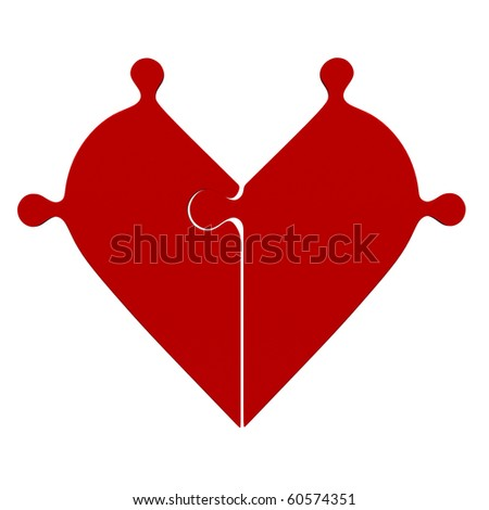 3d red jigsaw puzzle heart - stock photo