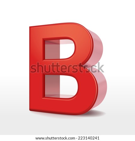 3d red letter B isolated on white background  - stock photo