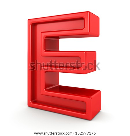 3d red letter - E - stock photo