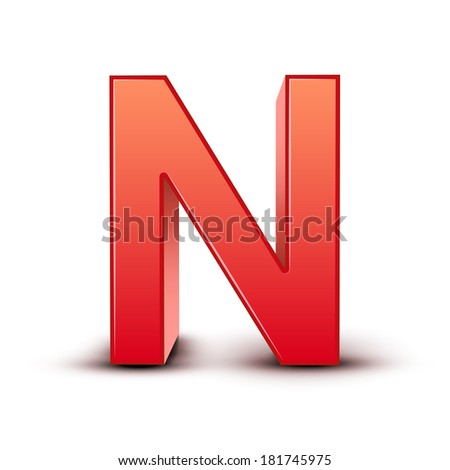 3d red letter N isolated white background - stock photo