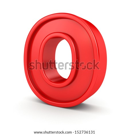 3d red letter - O - stock photo