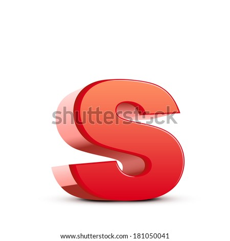 3d red letter s isolated white background - stock photo