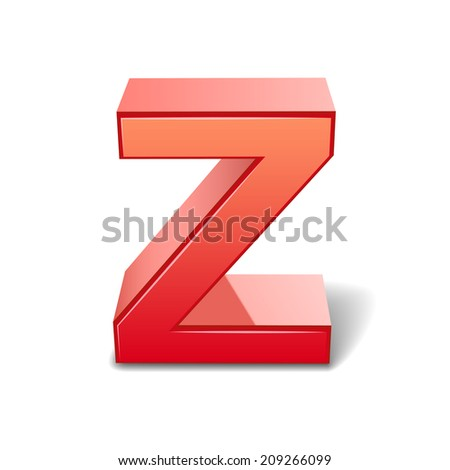 3d red letter Z isolated on white background